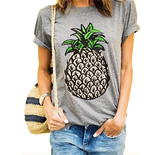 Vrouwen T-shirt Ronde Kraag Korte Mouw Ananas Print Casual Zomer Designer S-2XL