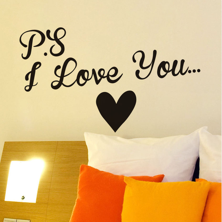 Vinyl I Love You Heart Wall Art Sticker Wedding Room Quote Decal ...