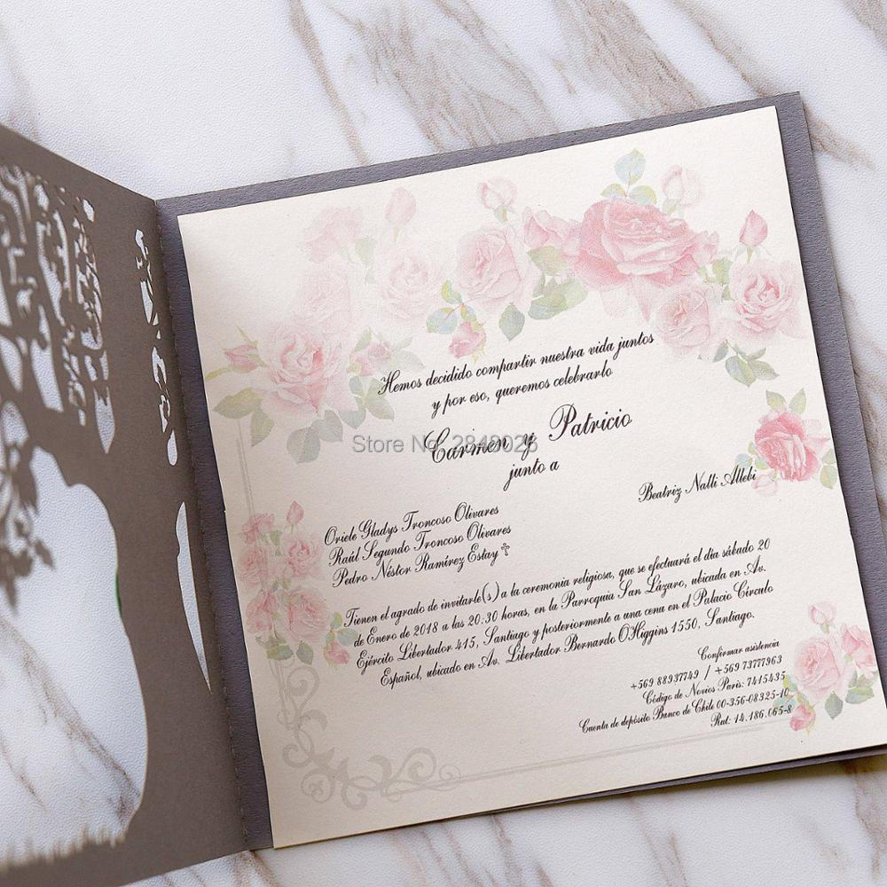 50pcs custom Love Story Tree Wedding Invitation, Laser cut Elegant ...