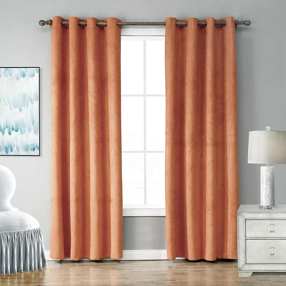Suede Thermal Window Curtains For Living Room Black Out Orange Thick Kitchen Drape Treatment Home Decoration