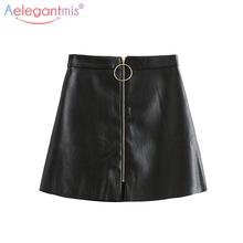 Aelegantmis Spring Summer Casual PU Leather Skirt Women Elegant Zipper Mini A-Line Skirt Lady Skinny High Waist Skirts Black cheap None Solid Empire Above Knee Mini PU Polyester