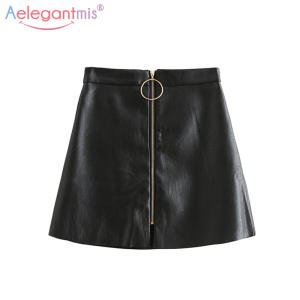 Aelegantmis Summer Women Elegant Mini Lady High Waist Black