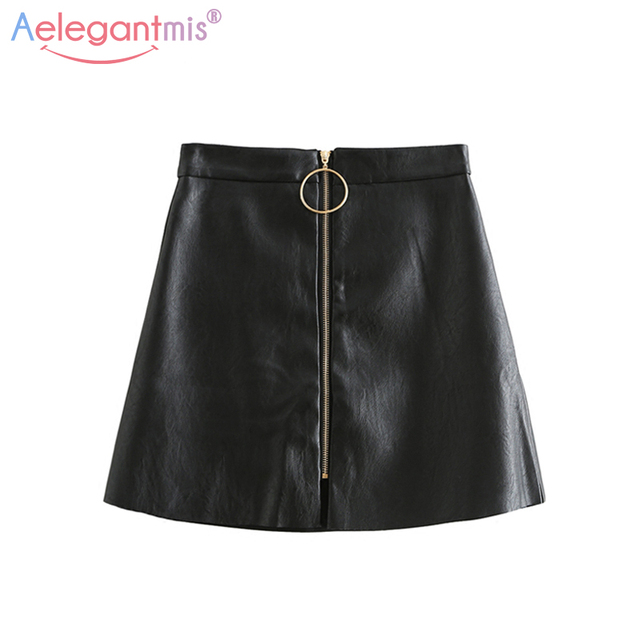 Aelegantmis Spring Summer Casual PU Leather Skirt Women Elegant Zipper Mini A Line Skirt Lady Skinny