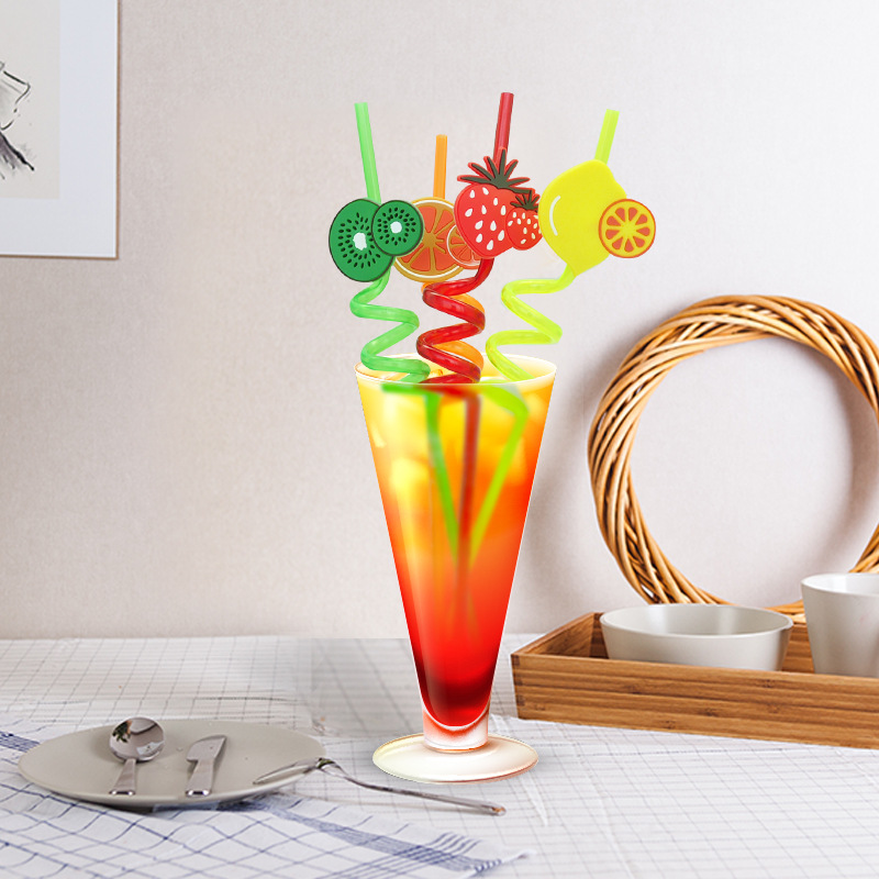 4Pcs Bar Party Straws Fruit Animal Thriller Disposable Straws Birthday Party Decorations Kids Straws Wedding/Party/Pool Supplies
