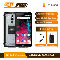 HOMTOM ZJI Z11 IP68 Waterproof Dustproof 10000mAh Smartphone 4GB 64GB Octa Core Cell Phone 5.99 18:9 Face ID 4G Mobile Phone