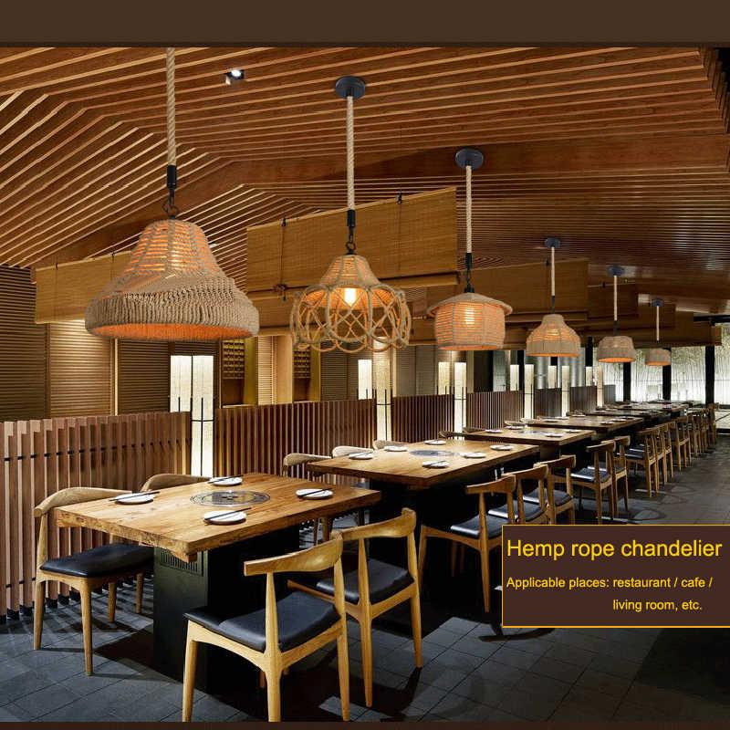 Винтаж подвесной светильник в сельской местности Американский в стиле ретро для творческой личности ручной вязки пеньковая веревка железа кафе Гостиная обеденный подвесной светильник