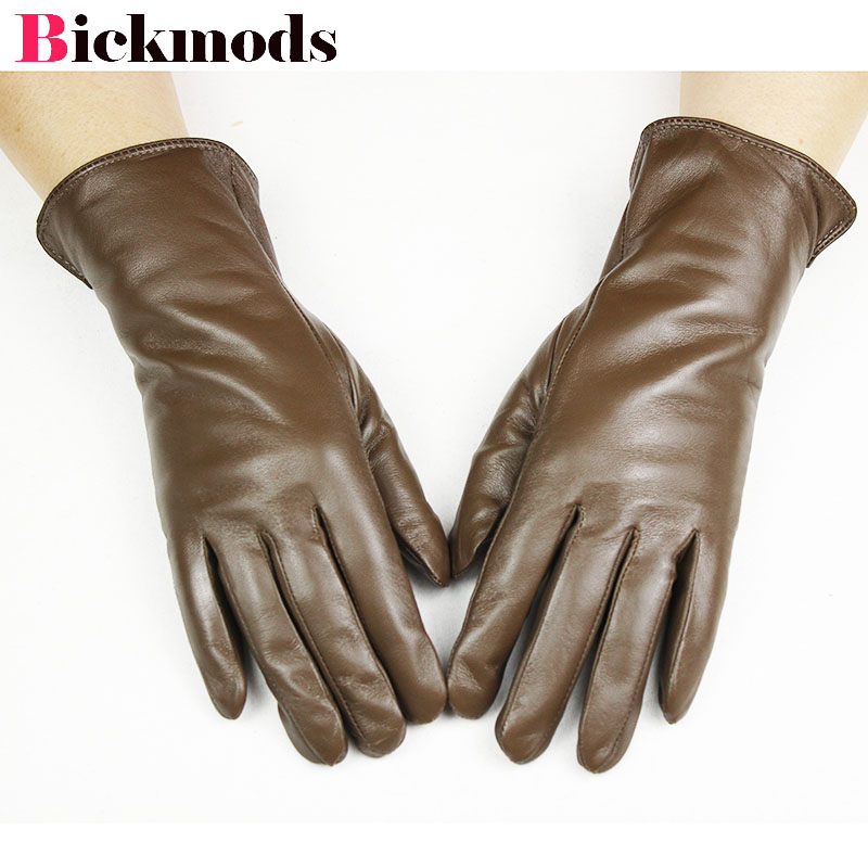 Genuine Leather Gloves Women's Brown Sheepskin Gloves Coral Fleece Lining Thicken Autumn Warmth Female Fingers Gloves