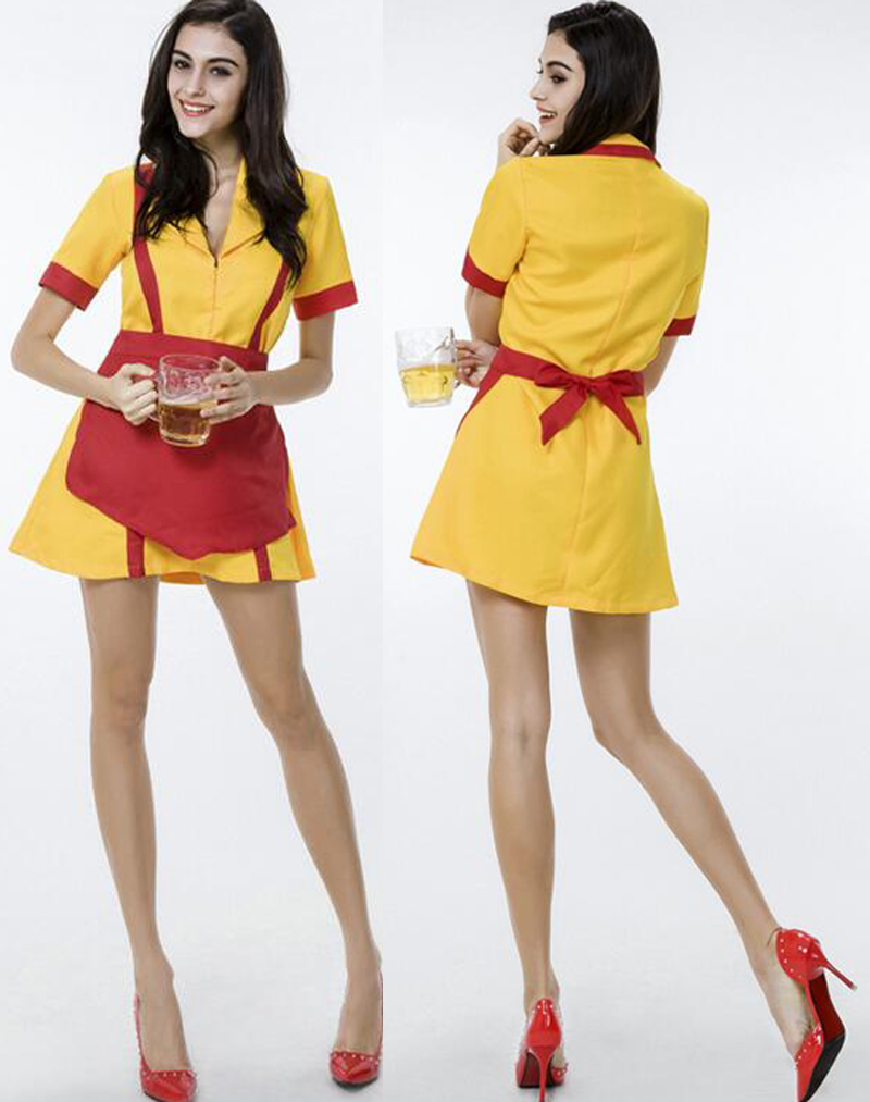 Free Shipping Cosplay Sexy Women Two Broke Girls Costume Beer