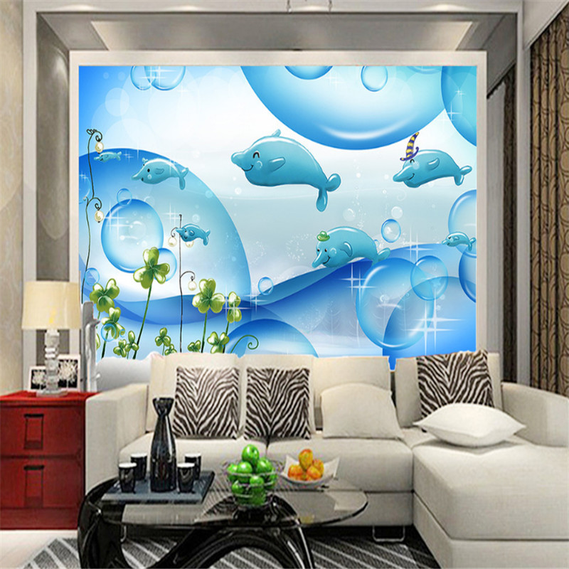 custom modern 3d photo non-woven wallpaper wall mural 3d wallpaper sea bubble dolphin children room background wall home decor free shipping custom dolphin under sea world floor mural children room school nursery waterproof floor wallpaper mural
