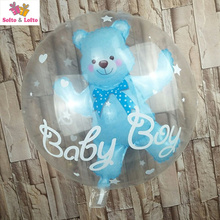 1 piece 24inch Inflatable balloons big clear bear ballon globo transparent 1st Birthday baby 100 days party decorations boy girl