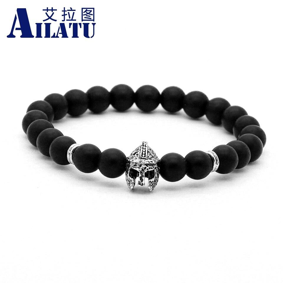 Ailatu Brand Jewelry Mens Matte Stone Gladiator Bracelet, Roman Warrior Helmet