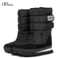 Fashion Women Men Boot Waterproof Women Winter Mid Calf Snow Boots Flat Heels Winter Boot Warm