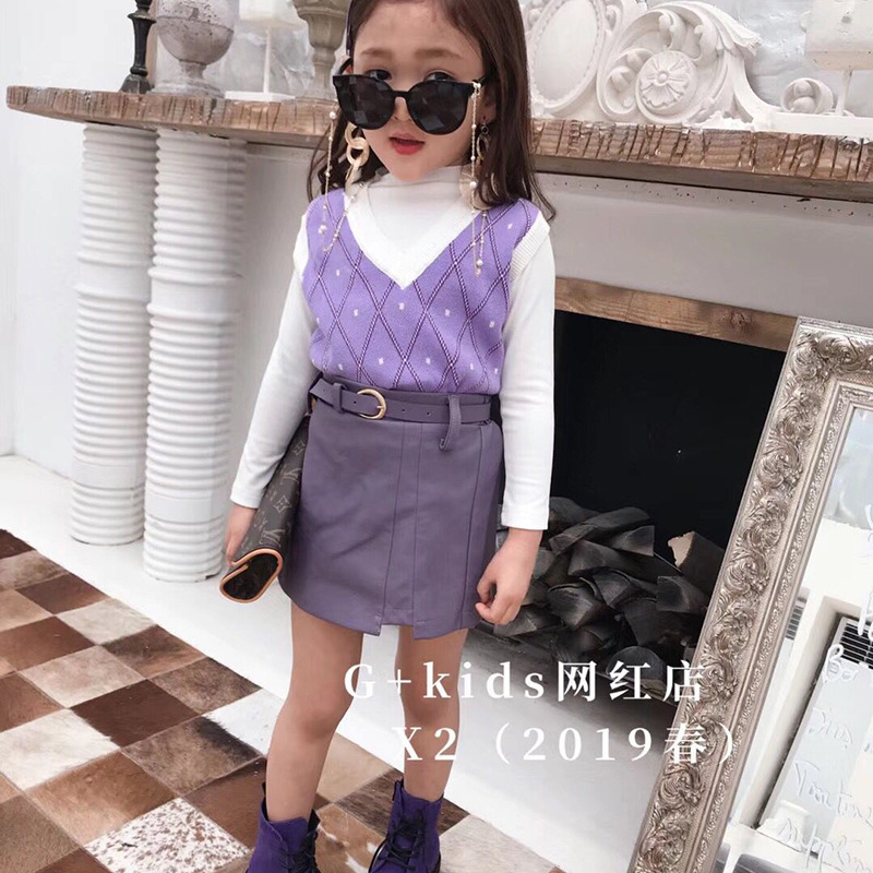2019 spring new product Big boy European station girl temperament cotton T-knit vest with  leather skirt  suit2019 spring new product Big boy European station girl temperament cotton T-knit vest with  leather skirt  suit