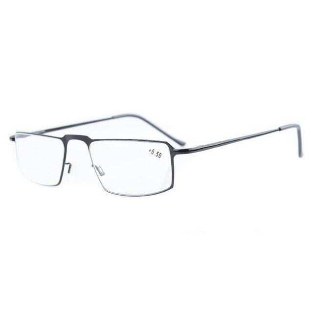 939de8219125 R15021 Eyekepper Readers Classical Stainless Steel Rectangular Frame Spring  Temple Reading Glasses +0.50----+4.00