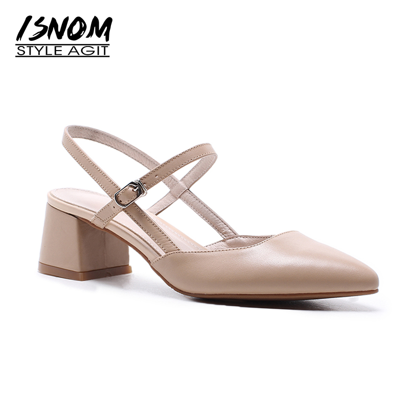 ISNOM 2018 Women Shoes Genuine Leather Women Sandals Summer Footwear for Female Dress Shes Thick High Heel Pointy toe sandal