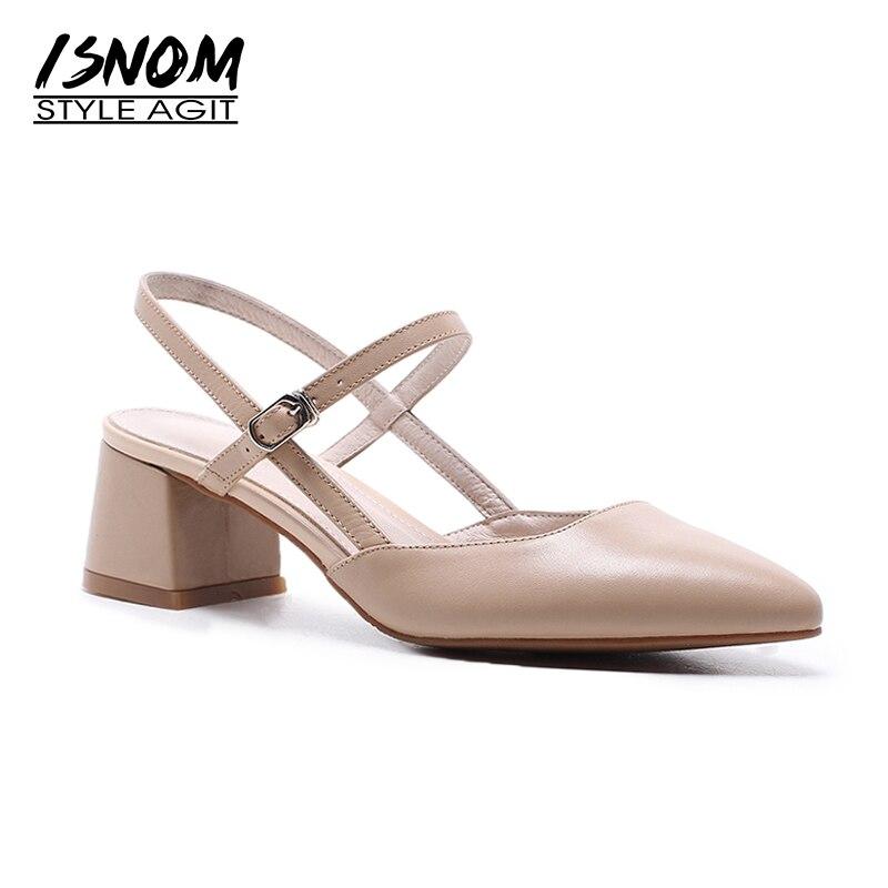 ISNOM 2019 damskie buty prawdziwej skóry kobiet sandały letnie obuwie dla damska sukienka ona jest gruby wysoki obcas szpiczasty toe sandały w Wysokie obcasy od Buty na  Grupa 1