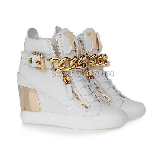 Hot Women Height Increasing Shoes Lace-Up High-Top Metal Chain Ankle Casual Shoes Zapatos Mujer 2016 hot low top wrinkled skin cockles trainers kanye west chaussure flats lace up mens shoes zapatos mujer casual shoes