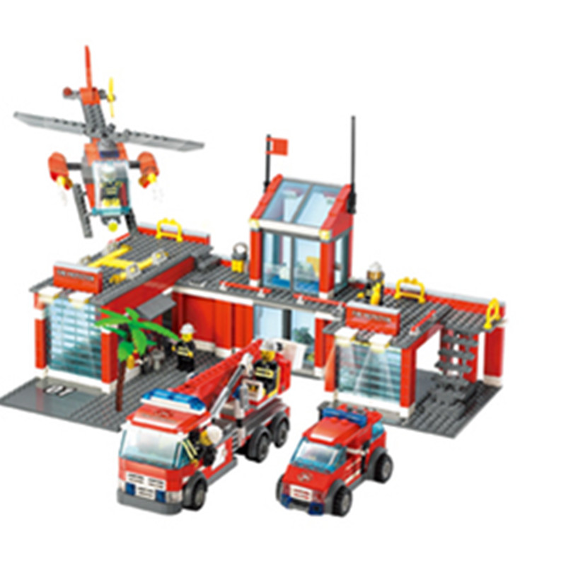 Super Large Fire Station 77Building Blocks Helicopter Educational Bricks Toys Learning Education Compatible C0A49 - Beautiful Female's World store
