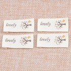 50pcs Beige Woven Labels For Clothing Care Labels Cartoon Tree Woven Labels Clothing Shoes Bags Washable Garment Tags CP1534