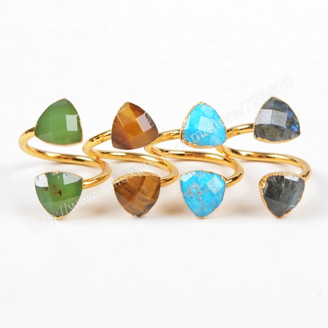 156c06aa729d6 US $28.0 |BOROSA Faceted Gems Tiger eye Blue Stone Labradorite Rings,  Double Stones Triangle Ring gems jewelry Natural Stone rings G1178 on ...