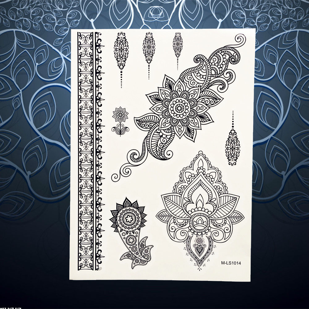 Hot Flash Tattoo Sleeve Black Henna Mehndi Flower Arm Hand