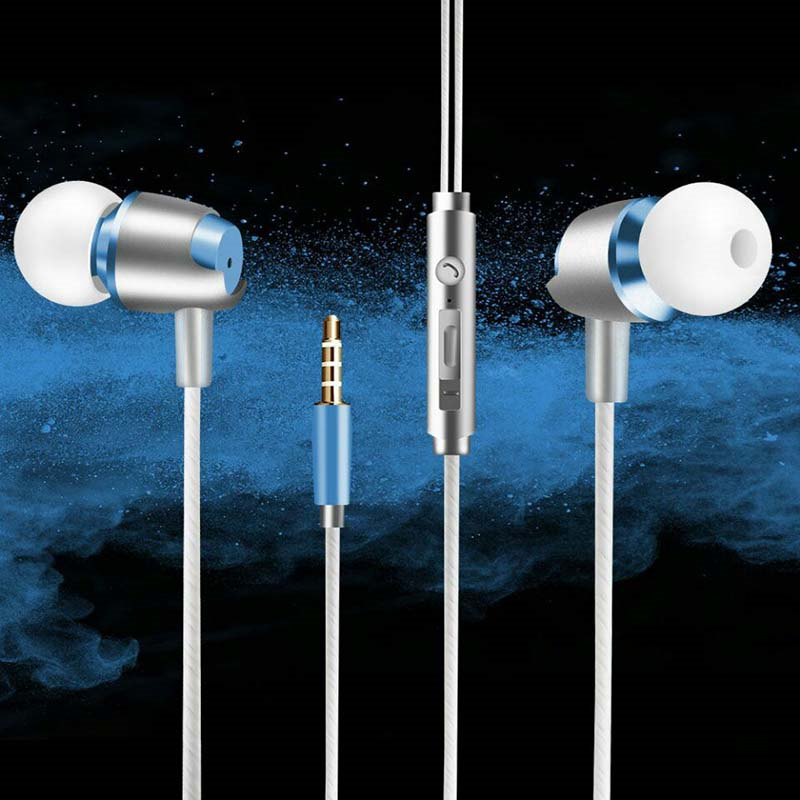 Special Edition Bimetallic Earphone with Microphone 3.5mm HD HiFi In Ear Bass Stereo Earbuds for LG G Pad III 10.1 FHD Harmony