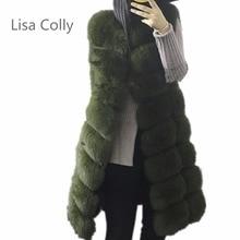 Lisa Colly Women Import Coat Super Faux Fur Winter Women Luxury Faux Fox Fur Vest Long Fur Vest Furry Slim Woman Fake Fur Vest недорого
