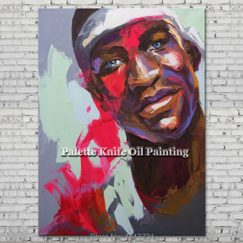 Palette knife portrait Face Oil painting Character figure canva Hand painted Francoise Nielly wall Art picture for living room11