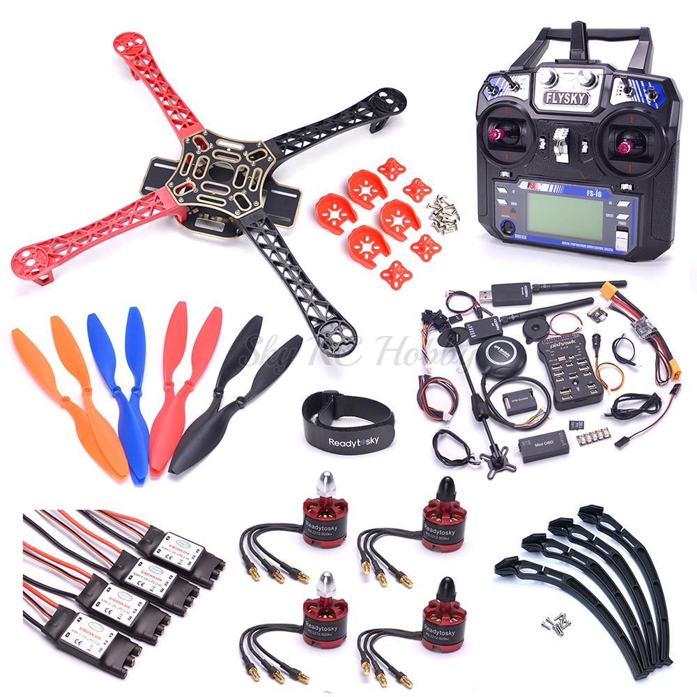 F450 450mm Quadcotper Frame Kit 2212 Motor Pixhawk 2.4.8 32 Bit PIX Flight Controller M8N GPS 433 Telemetry / Flysky I6 FS-i6