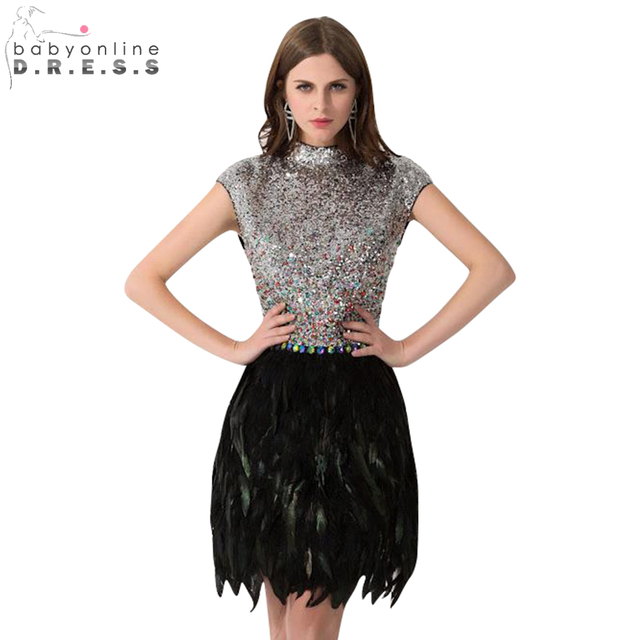 Sequin Cocktail Dress Babyonline Silver Sequin Cocktail Dresses 2017 Semi High Neck Black Feather  Party Dresses Mini Dress robe cocktail courte chic