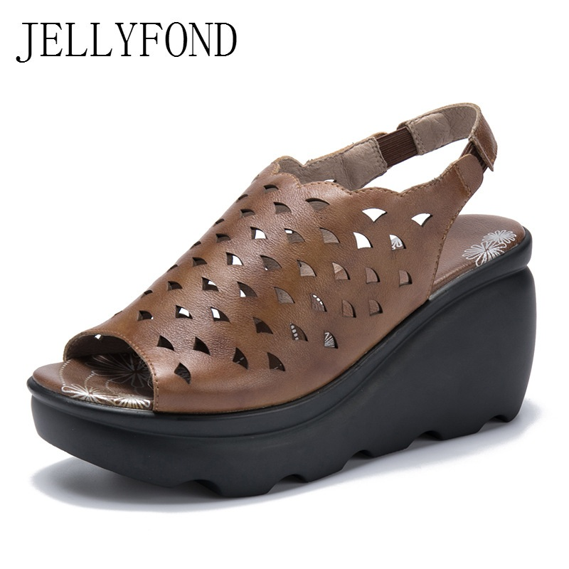 Hollow Genuine Leather Gladiator Sandals Women Peep Toe Back Strap Platform Wedges Shoes for Women Retro Summer Shoes Woman 32 43 big size summer woman platform sandals fashion women soft leather casual silver gold gladiator wedges women shoes h19