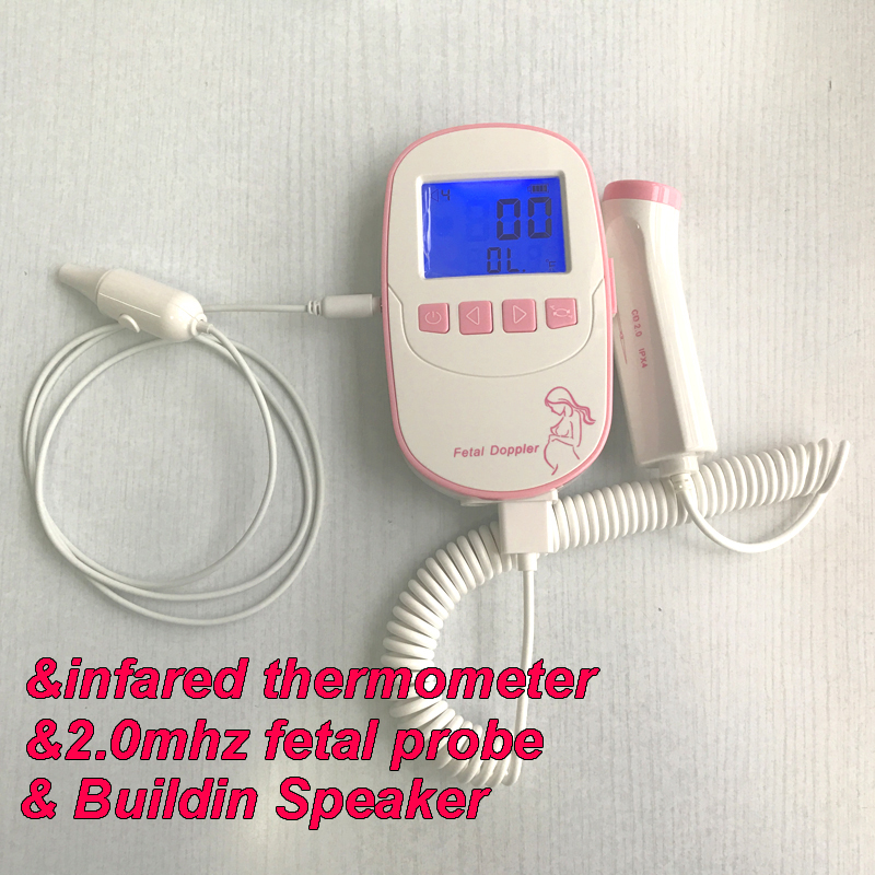 Fetal Doppler Baby Heart Rate Monitor large 2.4inch Screen 2MHz Probe Built-in Speaker infrared Temperature Probe Thermometer bf530 probe sensor spare parts fetal doppler probe 2mhz use for bestman model bf530