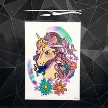 Sexy Unicorn Horse Temporary Tattoo Women Body Art Fake Tattoo Stickers 21x15CM LArge Waterproof Flash Tatoo Flower Paste