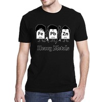 Heavy Metals Periodic Table Science Graphic Band Music Cool Very Funny T Shirt Men Cotton Short