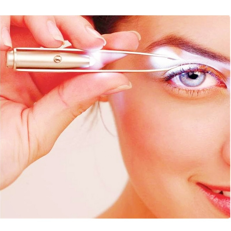 Multifunctional portable plucking tool LED lamp eyelash curler,eyelashes clip tweezer eye curler,recourbe cils eyelash tweezers.