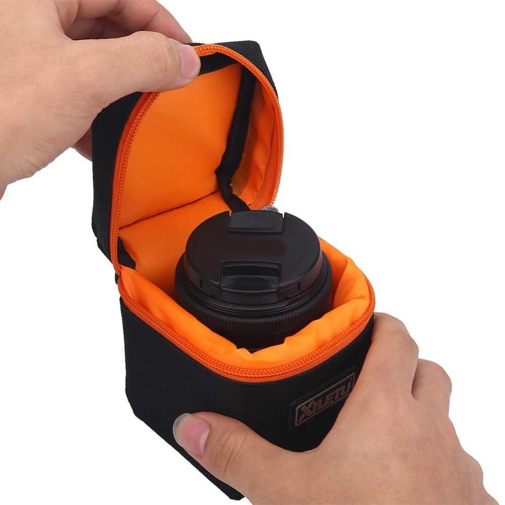 SOONHUA 7mm Thick Padded Camera Lens Bag Shockproof Durable Soft Camera Lens Protective Pouch Bag Case for DSLR Camera Lens