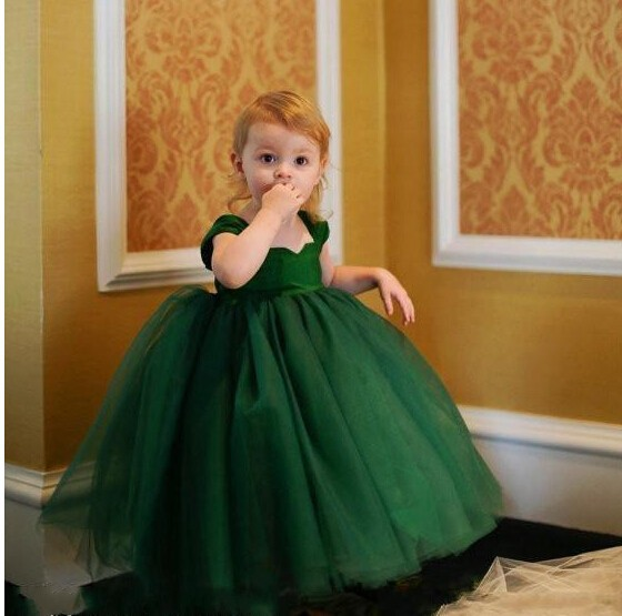 8eb254a98 Lovely Green Flower Girls Dresses For Weddings 2016 Ball Gown Tulle Tea  Length Cheap Girls First Communion Dress Formal Wear