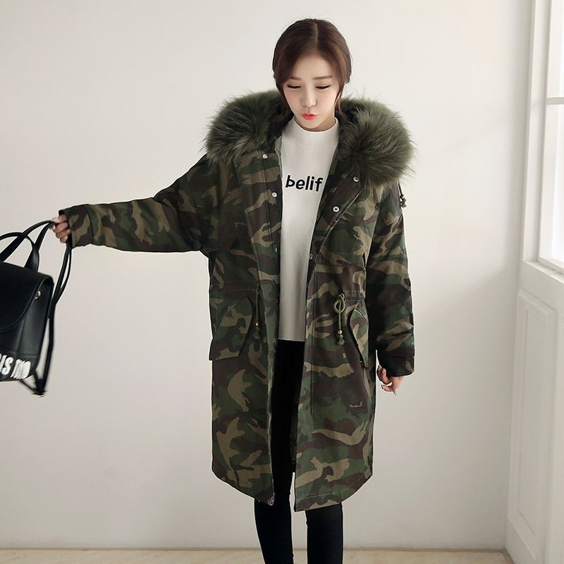2017 New Winter Women Long Coat Camouflage Fur Collar Hooded Cotton Jacket Thick Warm Loose Parka Coat Female Armygreen Overcoat thickening warm fur collar winter coat new 2016 women clothes lamb wool jacket hooded parka army green overcoat xl a3878