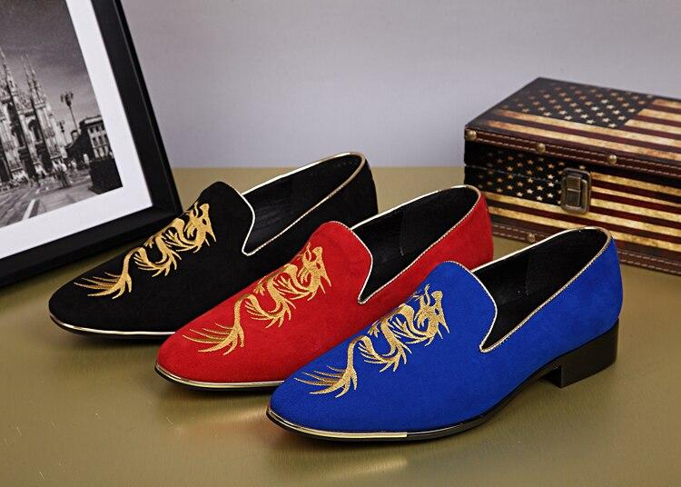 Noir rouge bleu hommes mocassins chaussures appartements en cuir véritable broderie Dragon appartements sans lacet robe de mariée chaussures hommes Oxfords taille 46