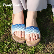 Hot Sale Women Sandals Summer Flat Hand-Woven High Quality Wedding Outside Travel Lady Handmade Beach Casual DIY Slides