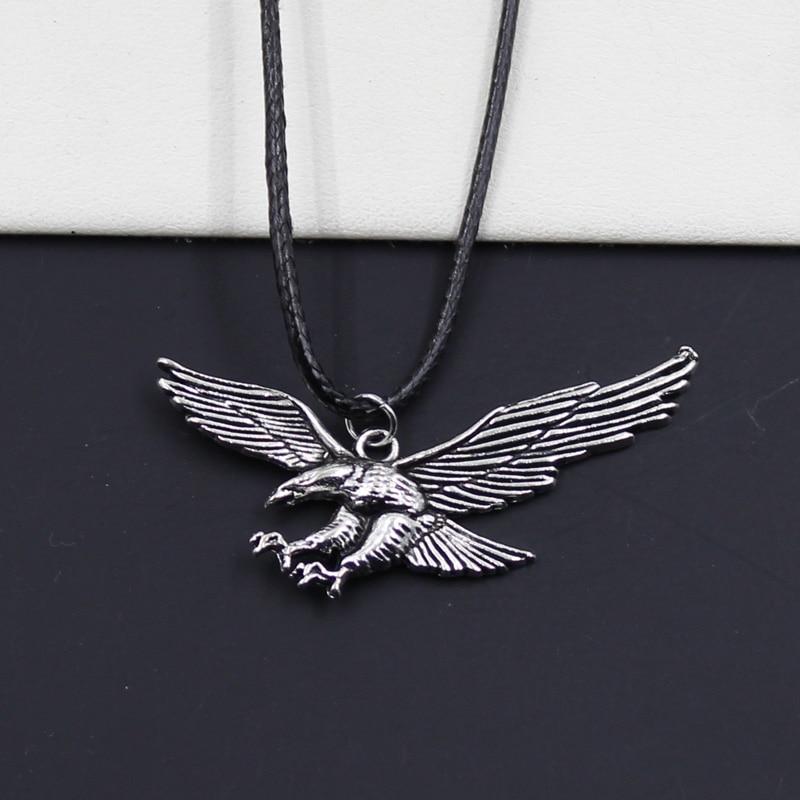 Nouveau Durable noir Faux cuir Hawk aigle pendentif cordon tour de cou collier à faire soi-même rétro Boho tibétain couleur argent