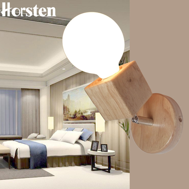 Horsten Japanse Stijl E27 Houten Wandlamp Verstelbare Slaapkamer Bed ...