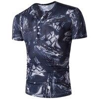 2017 New Summer Short Sleeve V Neck 3D Printed T Shirt Men Brand Europe Designer Men