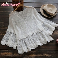 2017 Summer Women Blouse Loose V Neck Perspective Flower Embroidery Lace Shirt Japanese Style Mori Girl
