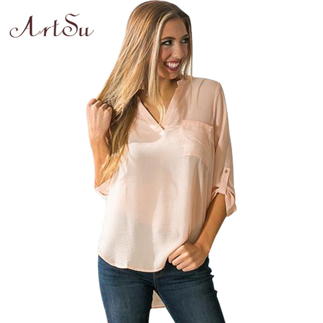 ArtSu Spring Long Sleeve V-neck Chiffon Blouse Pocket Office Shirt Ladies Tops Women White Blouses Casual Blusas ASBL20264