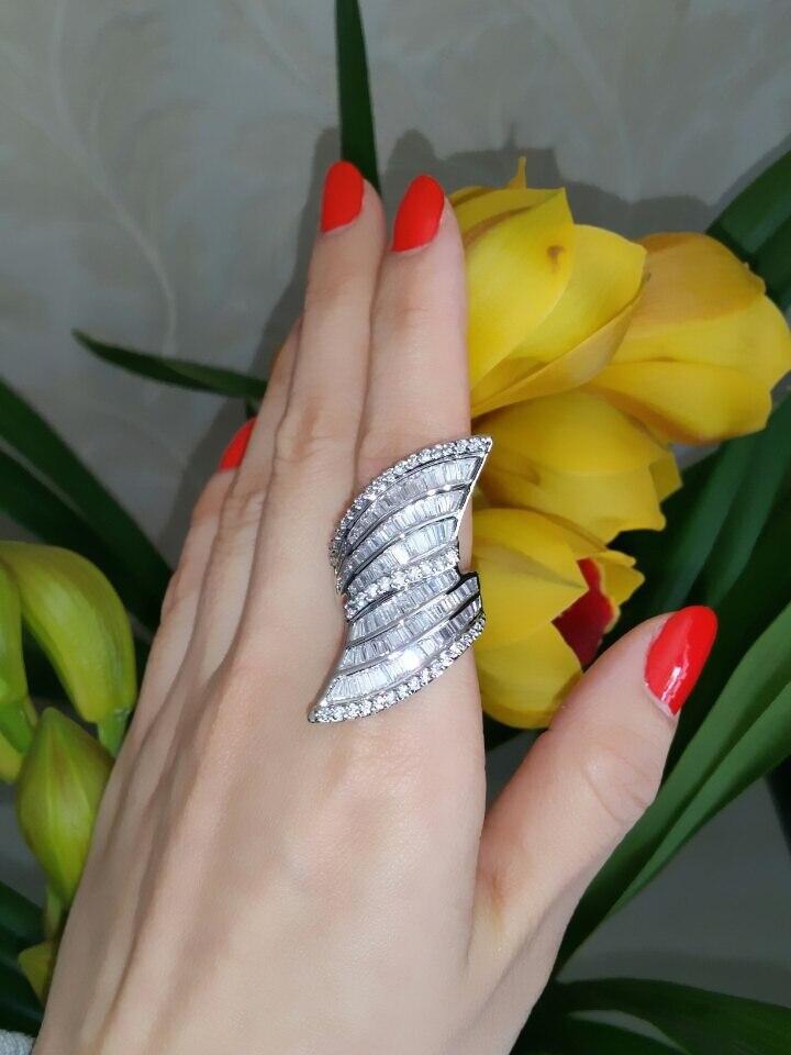 ALW крыло Преувеличение дизайн длинной поверхности колец для женщин инкрустированные циркон элегантные женские кольца модные ювелирные изделия - 6