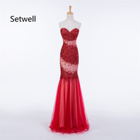 Setwell Sexy Red Evening Dresses Strapless Backless Mermaid Evening Dress Elegant Beading Sequin Evening Gown
