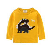 Funny girls t shirts baby boy long sleeve tops long boys t-shirt kids tshirt Dinosaur kid Clothing Children top girl clothes