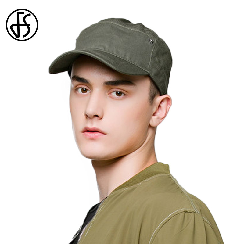 FS Full Cotton Mens Flat Top Cap Classic Solid Color Green Visor Hat Casquette Baseball Cap Men Gorra Summer Cappello fashion rivets cotton polyester fiber men s flat top hat cap army green