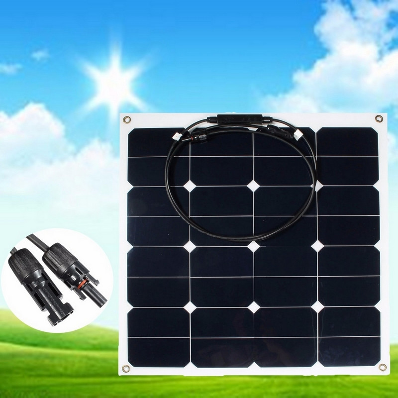 18V 50W Solar Panel Monocrystalline Saving Sime-Flexible Solar Panels Boat for RV Travel Car High Quality Solar Cell sp 36 120w 12v semi flexible monocrystalline solar panel waterproof high conversion efficiency for rv boat car 1 5m cable